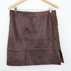 Vintage 90s Banana Republic Leather Braided Skirt
